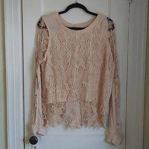 Free People Lace Overlay Sweatshirt
